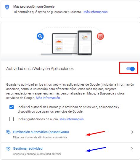 Borrar historial en Google