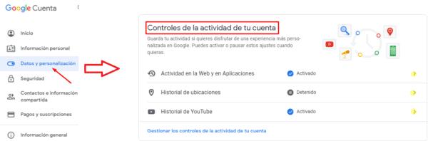 Control de actividad de la cuenta de Google