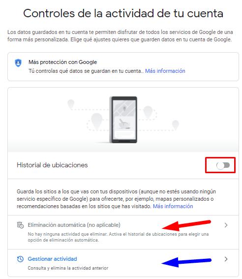 Borrar historial Google ubicaciones.