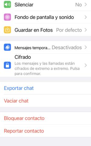 Vaciar chat con un contacto de whatsapp