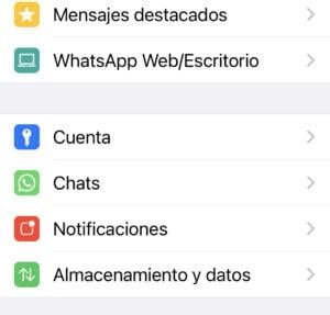 Opciones de configuración whatsapp en smartphone