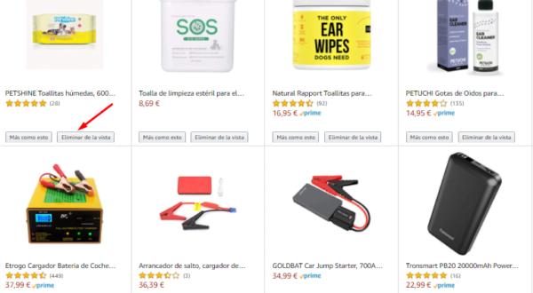 Detalle de búsquedas de productos en Amazon