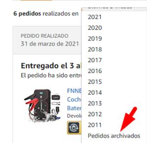 Como ver pedidos archivados en Amazon