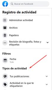 Tipos de actividad en Facebook