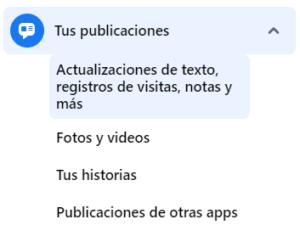 Historial publicaciones en facebook