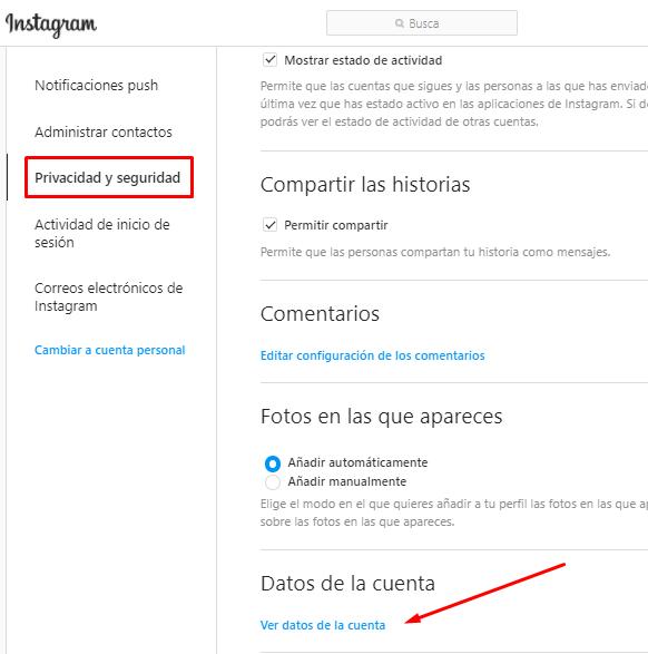 Como entrar a Privacidad y Seguridad de Instagram