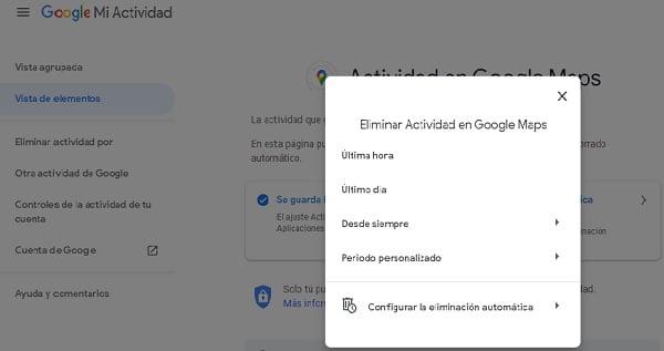 Eliminar actividad en Google maps