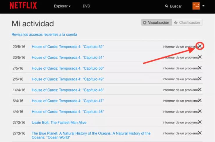 Como borrar el historial en Netflix