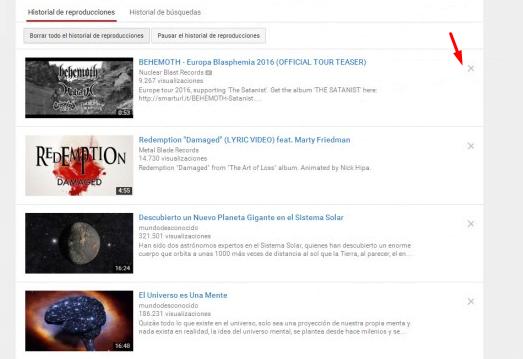 Desplegable de nuestras reproducciones en Youtube