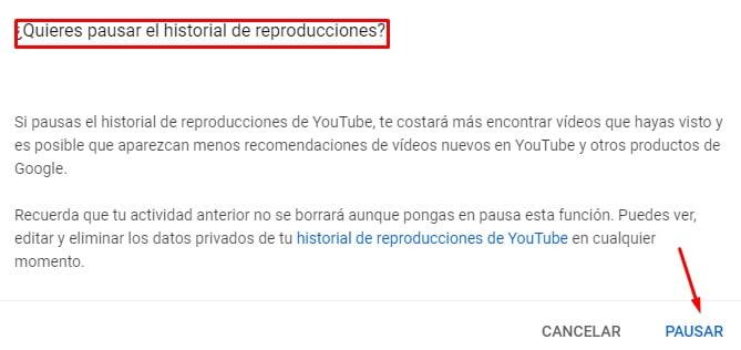 Aceptar pausar historial en Youtube